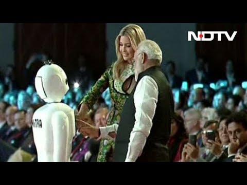\'Mitra\' - The Robot Greets PM Modi, Ivanka Trump at GES 2017