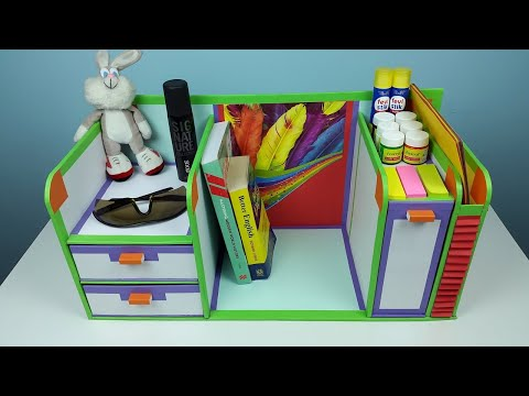 A compact DIY desk organizer/ drawer organizer out of cardboard.