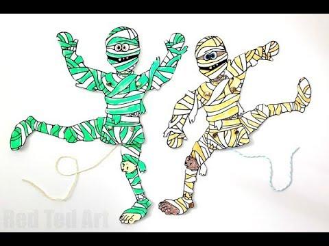 DIY Mummy Paper Puppet - Free Halloween Printables