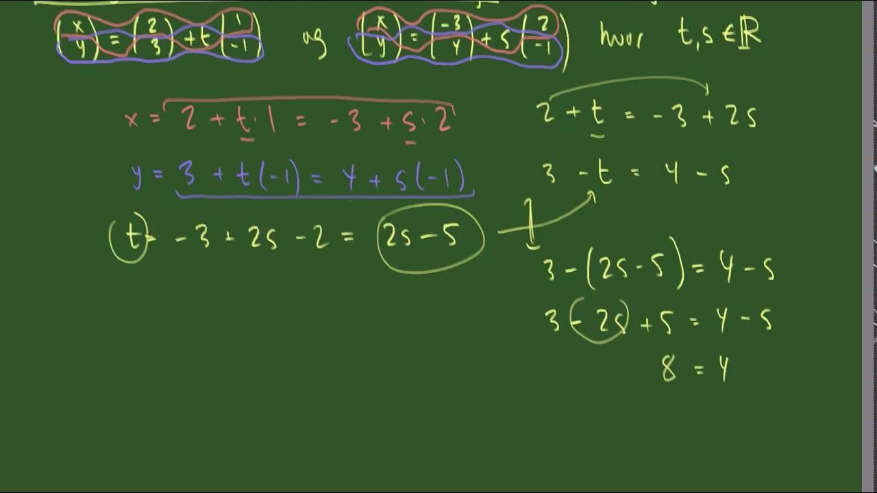 Skæring mellem to parameterfremstillinger