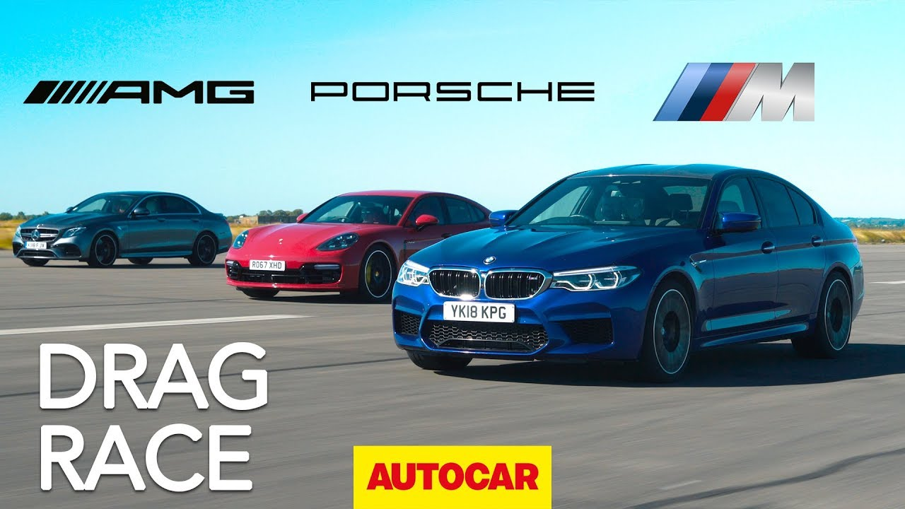 Drag race: BMW M5 v Mercedes-AMG E63 S v Porsche Panamera Turbo S E-Hybrid | Autocar
