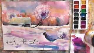 Урок живописи акварелью. Зима.