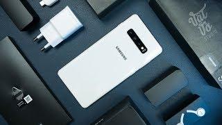 Mở hộp Samsung Galaxy S10+ phiên bản Ceramic White