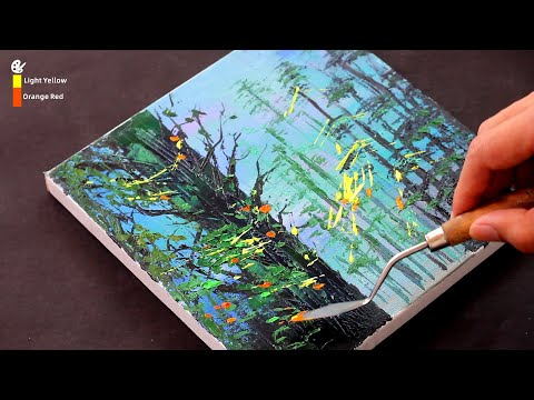 Landscape Painting with palette knife / Acrylics Painting for beginners / Easy / Day #245