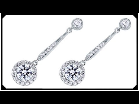 Beautiful Diamond Earrings Synthetic Grown Man Made Sterling Silver 925 White Gold