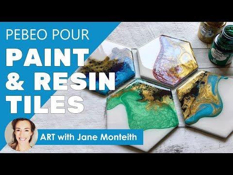 Hexagon Fluid Paint Resin Coaster Tiles - Full Tutorial