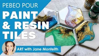 Hexagon Fluid Paint Resin Coaster Tiles - Full Tutorial