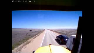 Caravan Rollover in Front of a Road Train