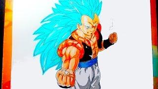 DIBUJANDO A GOGETA SSJ 3 DIOS AZUL - Drawing Goku ssj3