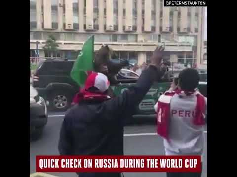 A bear playing the vuvuzela in Russia ( FIFA World Cup 2018 )