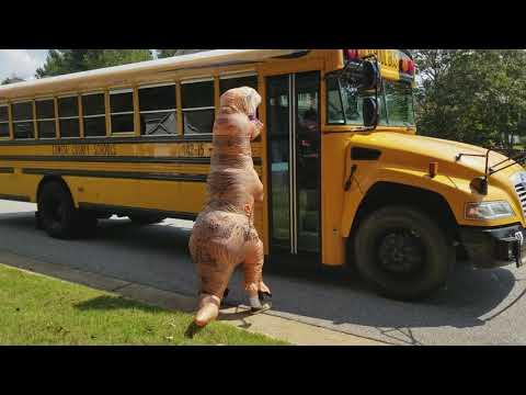 T-Rex Dinosaur meets Bus