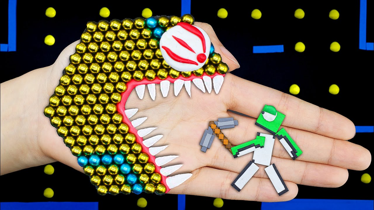 Crazy Magnetic PAC-MAN vs Dream Minecraft Battle | Game Pac-Man stop motion @Funny Pacman