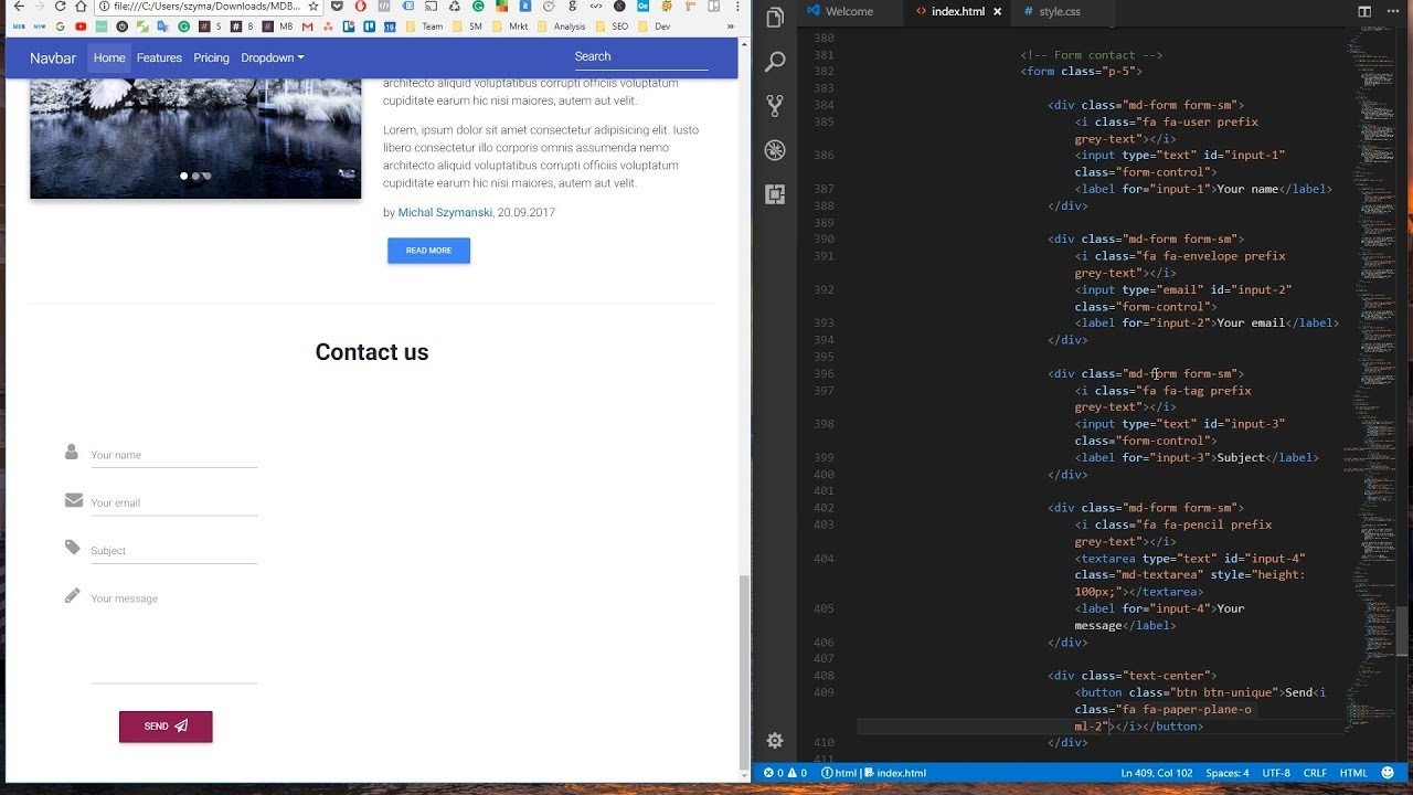 Bootstrap 4 tutorial 10 contact form youtube bootstrap 4 tutorial 10 contact form falaconquin