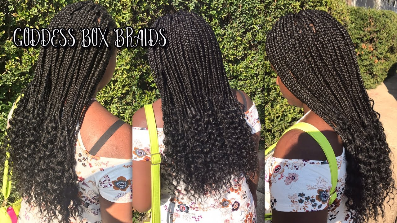 tutorial box braids with curly ends how to do goddess box