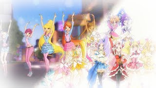 [MAD] Pretty Cure All Stars DX 3 - Eröffnung [Winx Rising Up Together] (Vergleich)