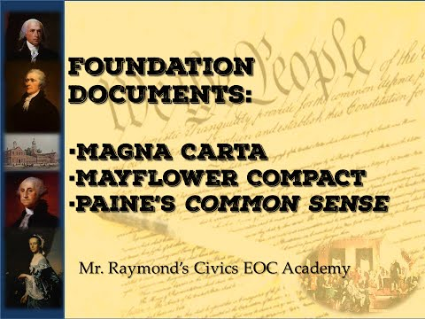 Foundations of Democracy, the Magna Carta, Mayflower, Paine's Common Sense Civics