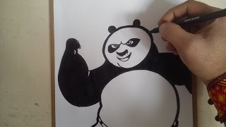 Como dibujar a po de kung fu panda 3 / how to draw po Kung Fu Panda 3
