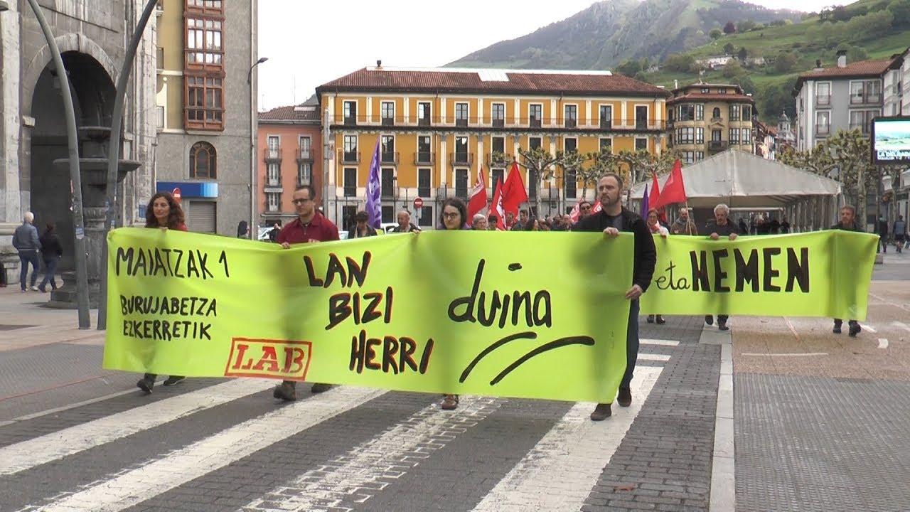 """""""Duintasuna"""" aldarrikatu du LAB sindikatuak Maiatzaren  Leheneko manifestazioan"""