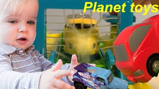 Car Wash Train Color Change Paint Station Japan unboxing toy - kids video for kids