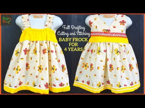 a514ef9419 4 Years BABY FROCK DRAFTING Cutting and Stitching in Hindi/Urdu ...