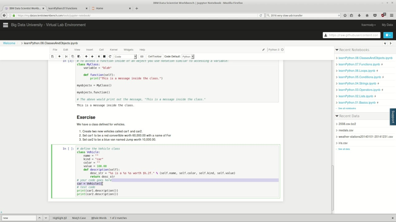 Learn Python : 08 : Classes and Objects