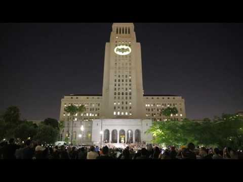 "Adam West ""Bat Signal"" Tribute at L.A. City Hall, June 15, 2017"