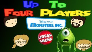 Four Players Play Monsters Inc Scream Arena