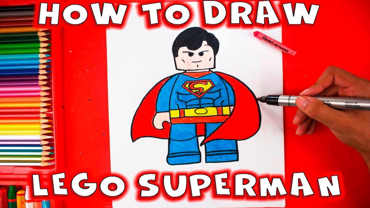 how to draw lego superman easy step by step drawing