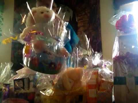 Making gift baskets with Scentsy products.