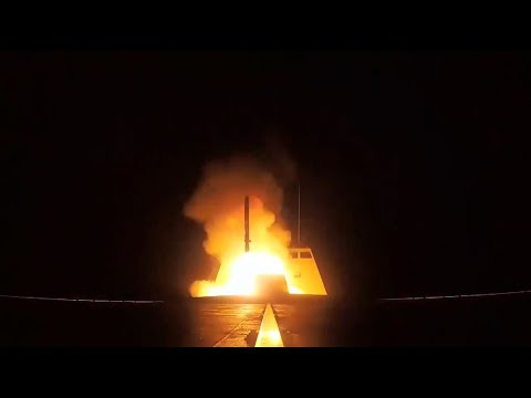 French Navy FREMM Frigate Launching MdCN Cruise Missiles against targets in Syria