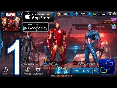 MARVEL Future Fight Android iOS Walkthrough - Gameplay Part 1 - Tutorial, Chapter 1 (NO IAP) - 동영상