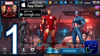 MARVEL Future Fight Android iOS Walkthrough - Gameplay Part 1 - Tutorial, Chapter 1 (NO IAP)
