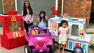 Kids pretend play in real life selling cars and ice cream truck toy