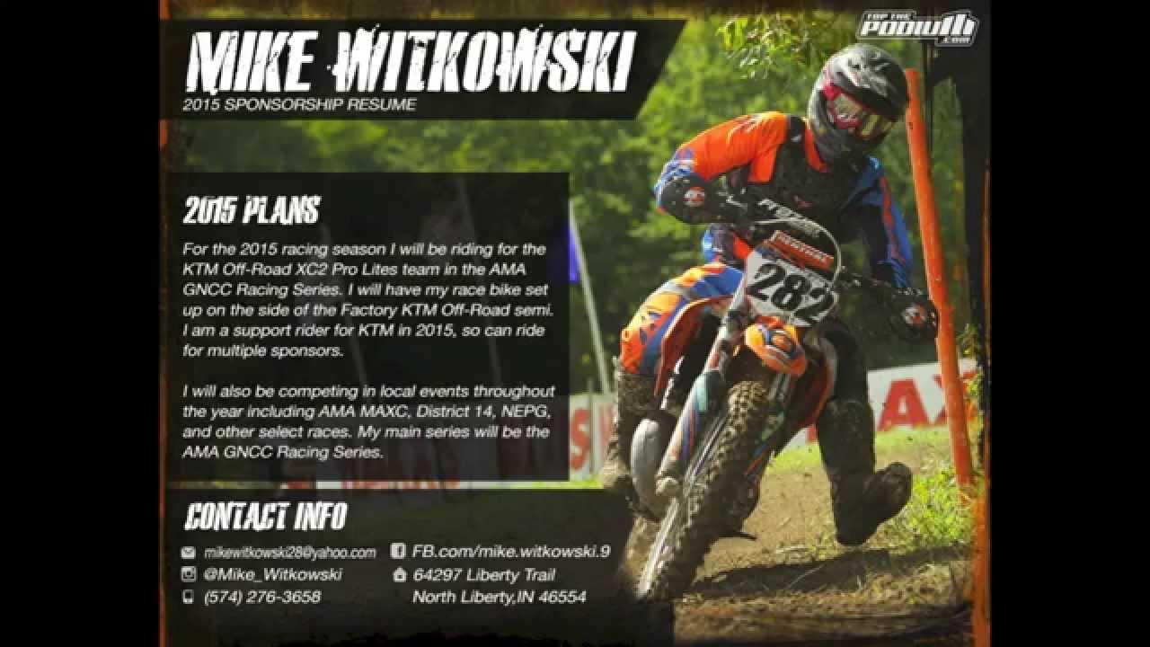 Motocross Sponsorship Resume Template