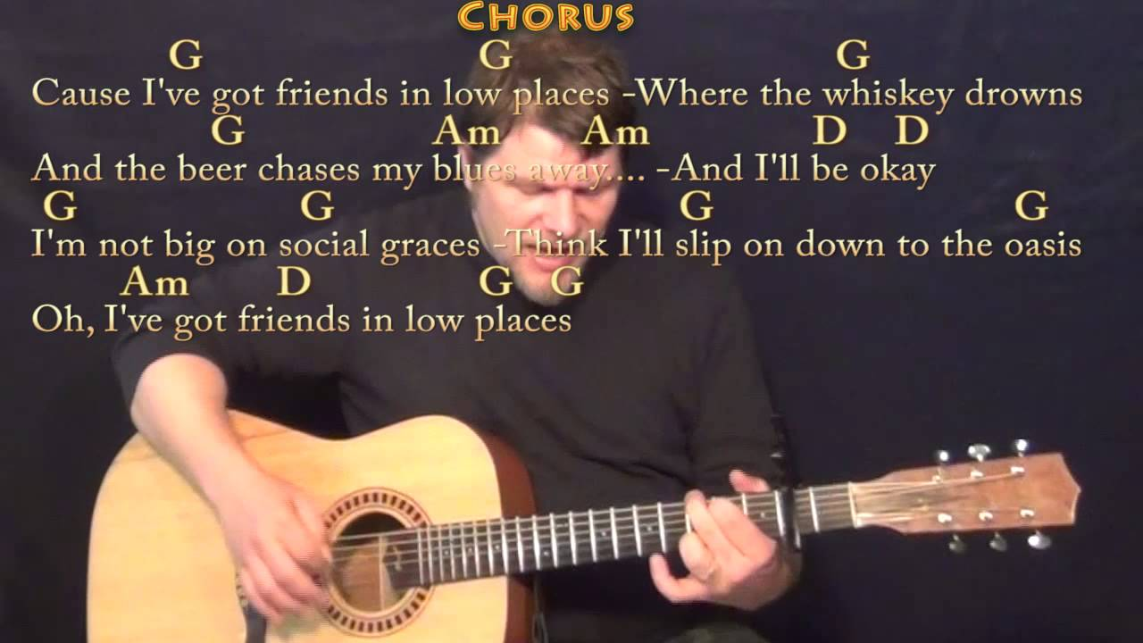 Friends In Low Places Garth Brooks Strum Guitar Cover Lesson With