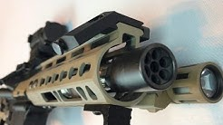"""223 5.56 AR 1.5"""" Linear Compensator Nano flash can from S&J Hardware on 7.5"""" pistol review"""