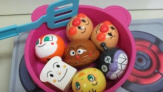 anpanman toys shimajiro kitchenset  アンパンマン 人形おもちゃをしまじろうキッチンセットで料理! thumbnail