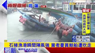 最新》石梯漁港瞬間陣風強 業者憂賞鯨船遭吹走
