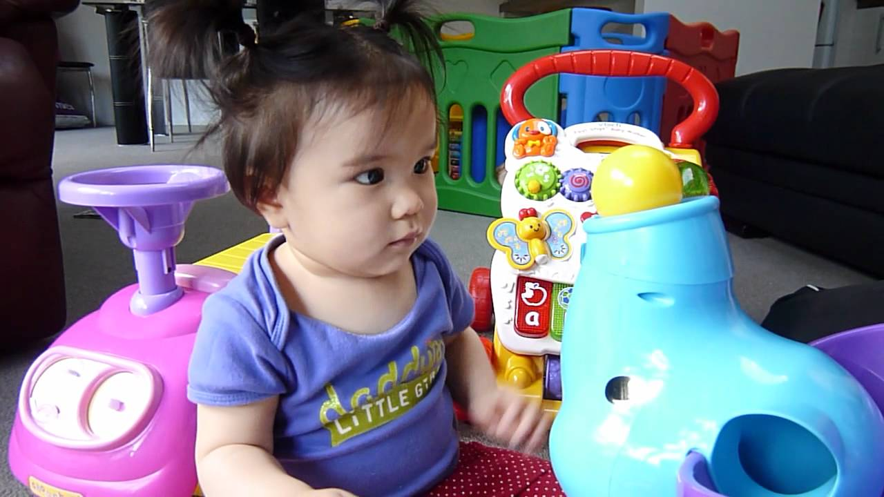 11 Months Old Baby Girl Playing With Her New Toys Youtube