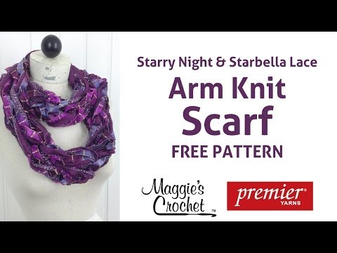 Arm Knit Starbella Lace & Starry Night Ribbon Yarn Scarf - Right Handed