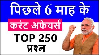 Last 6 month current affairs 2018 | Top 250 six month important current affairs in Hindi, English