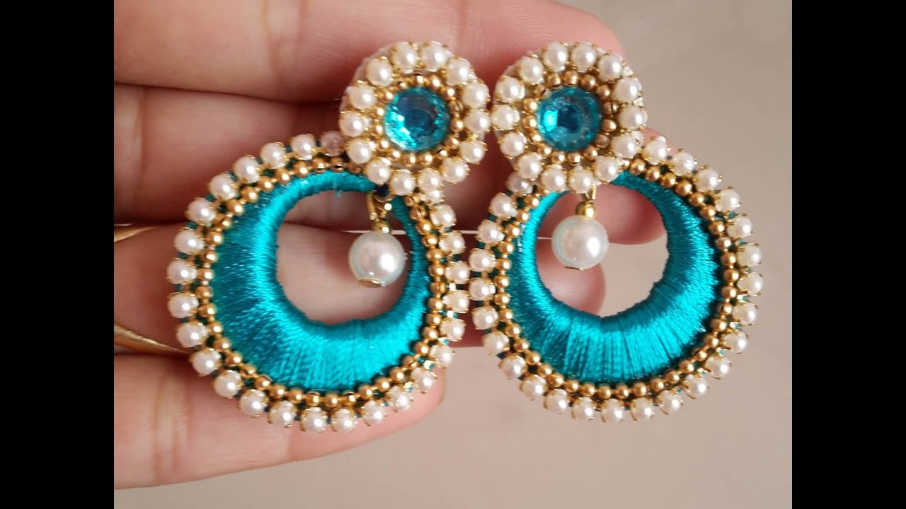 How to make Chandbali Silk Thread Earrings | Tutorial - YouTube