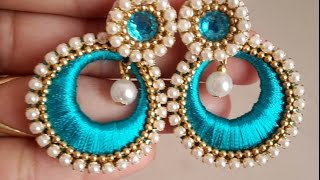 How to make Chandbali Silk Thread Earrings | Tutorial