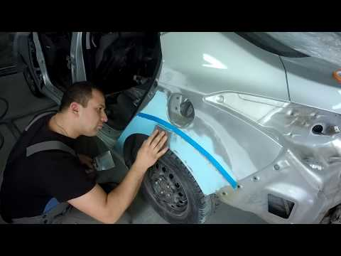 Hyundai Avante Шпатлюем, готовим к грунту.