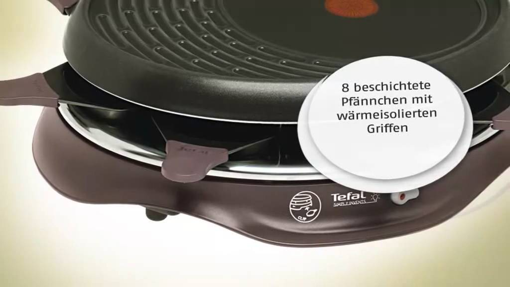 Re5160 tefal raclette grills raclette simply invents 8 ean3168430094697 youtube - Raclette tefal simply line ...