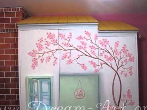 Ζωγραφική σε Ντουλάπα Σπιτάκι για το δωμάτιο της Ιόλης