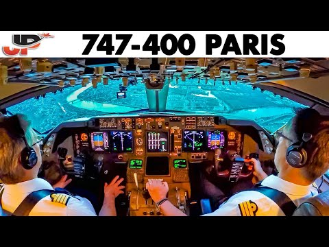 Piloting BOEING 747-400 into Paris | Cockpit Views