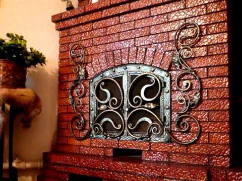 Ковка красивый дизайн камина из красного кирпича в частном доме интерьер комнаты с камином Днепр