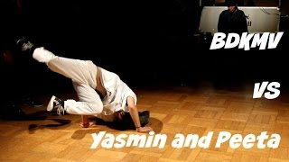 Bgirl Yasmin and Bboy Peeta vs. BDKMV (Hayato 1 and Kishitake). Top 8. Full Throttle 2017