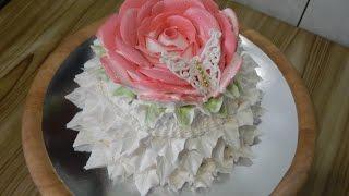 УКРАШЕНИЕ ТОРТОВ -торт РОЗА, cake decoration- a rose cake
